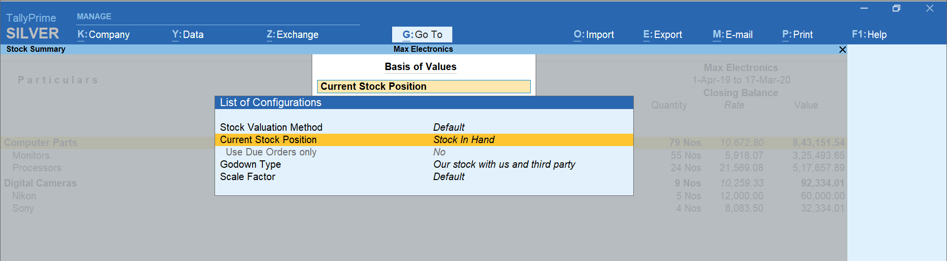 Basis of values option in TallyPrime