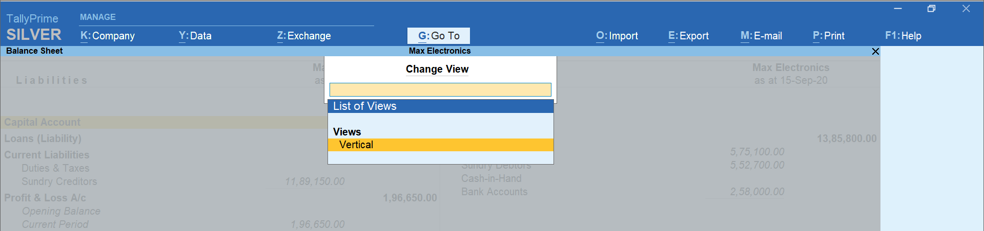 horizontal view to vertical view option in TallyPrime