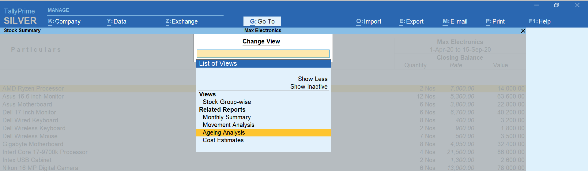 change view report in tallyprime