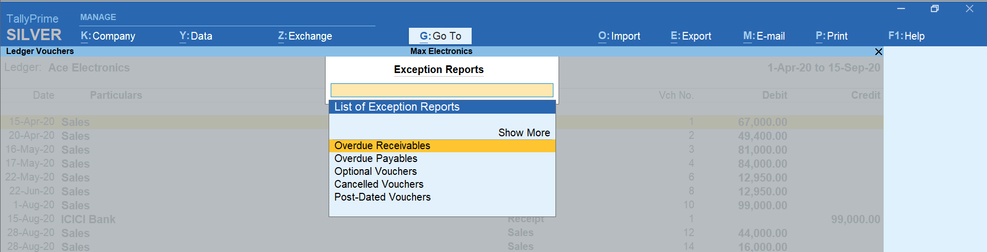 Exception Reports in TallyPrime