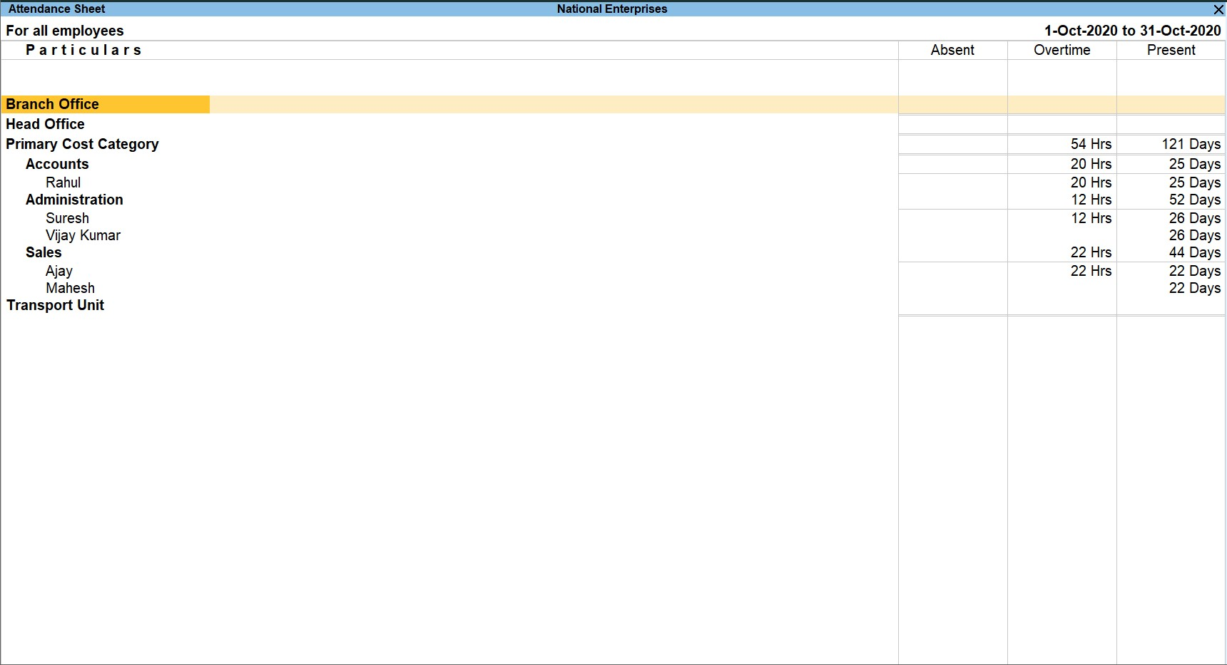 Attendance register in TallyPrime human resource software