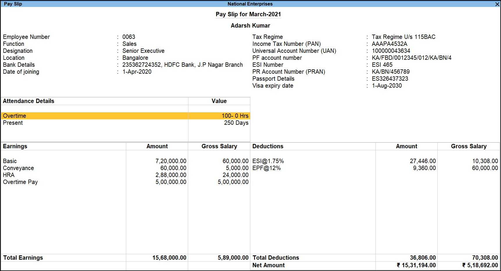 Single payslip in TallyPrime payroll & HR software