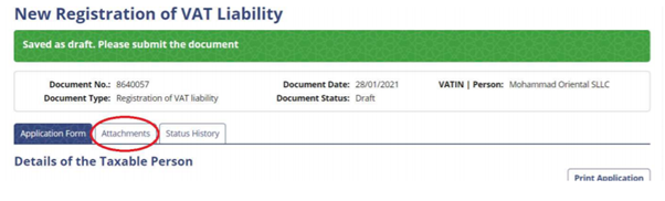 New registration of VAT liability