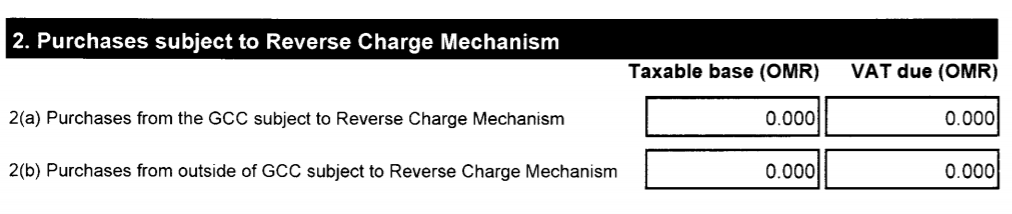 Purchases subject to Reverse Charge Mechanism