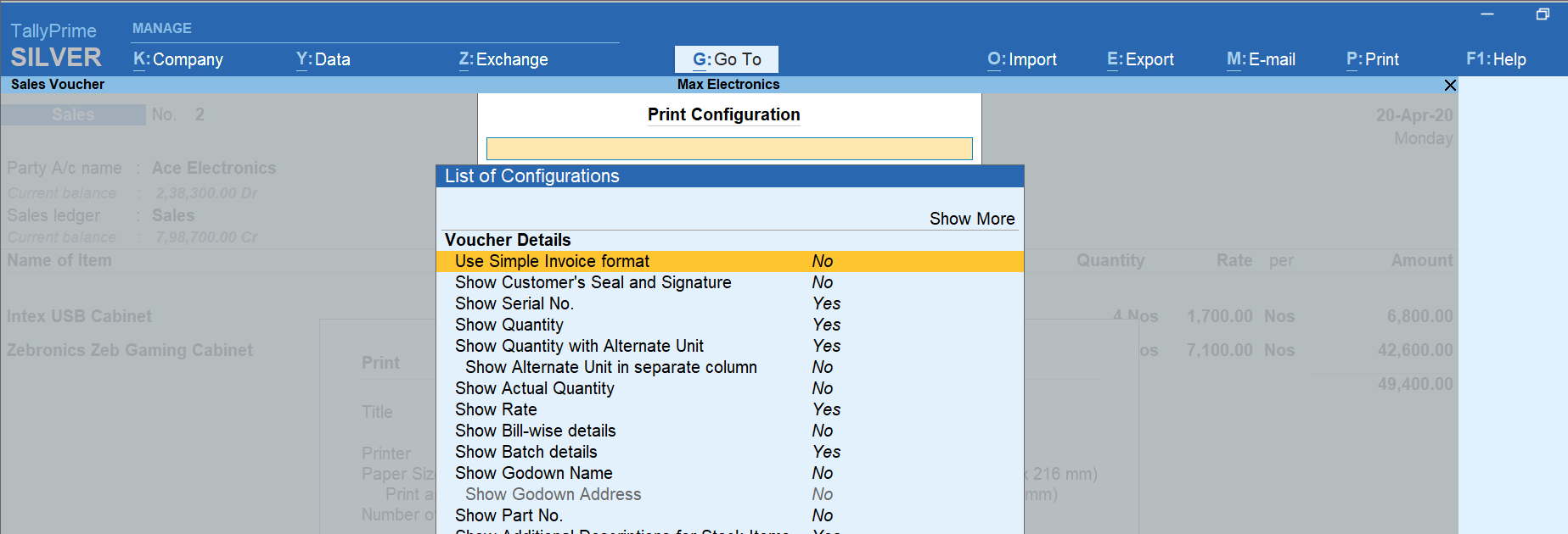 invoice configurations and options in TallyPrime