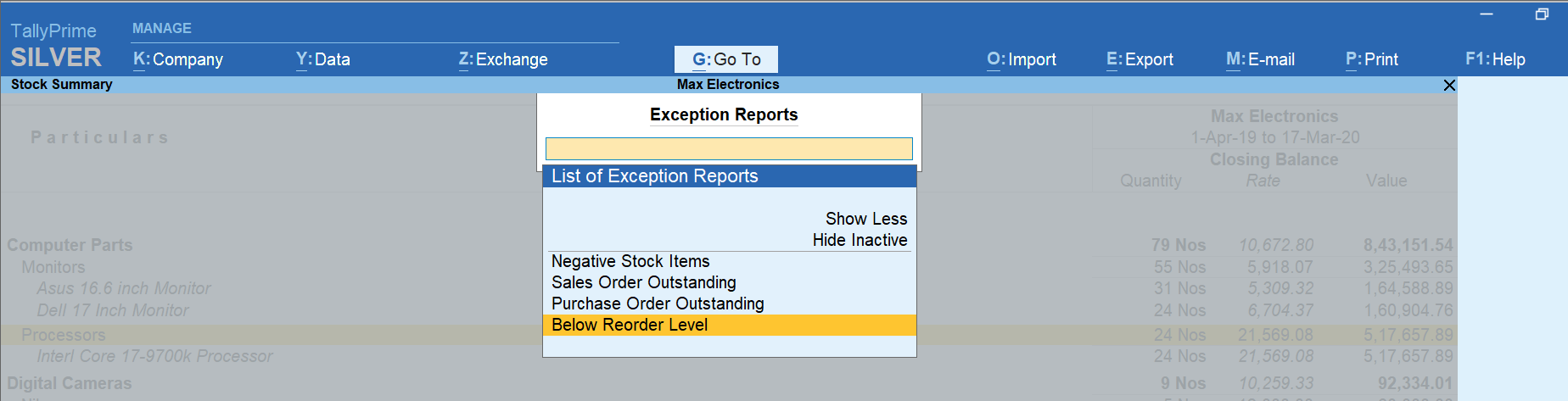 exception reports tallyprime
