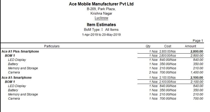 Automated Cost Estimation Report generated using Bill of Material in Tally.ERP 9