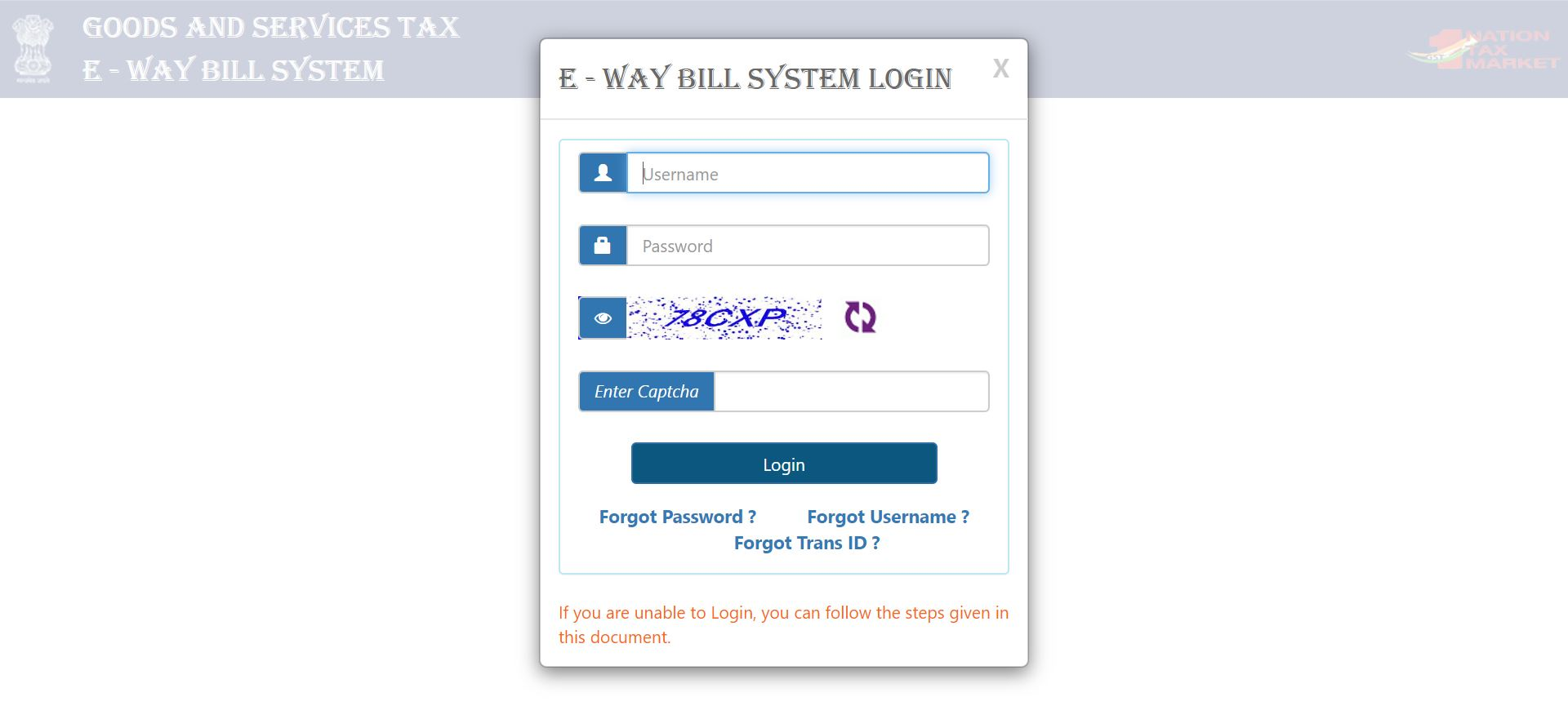 E-way bill login