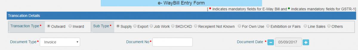 e-way bill entry form