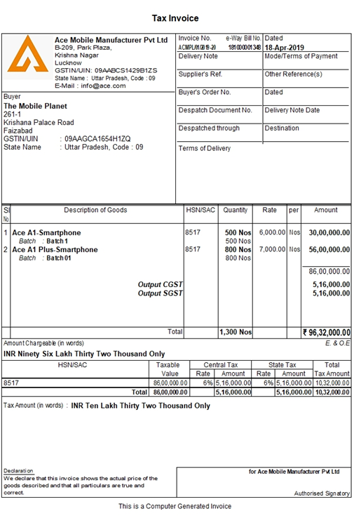 Tax Invoice Format in India
