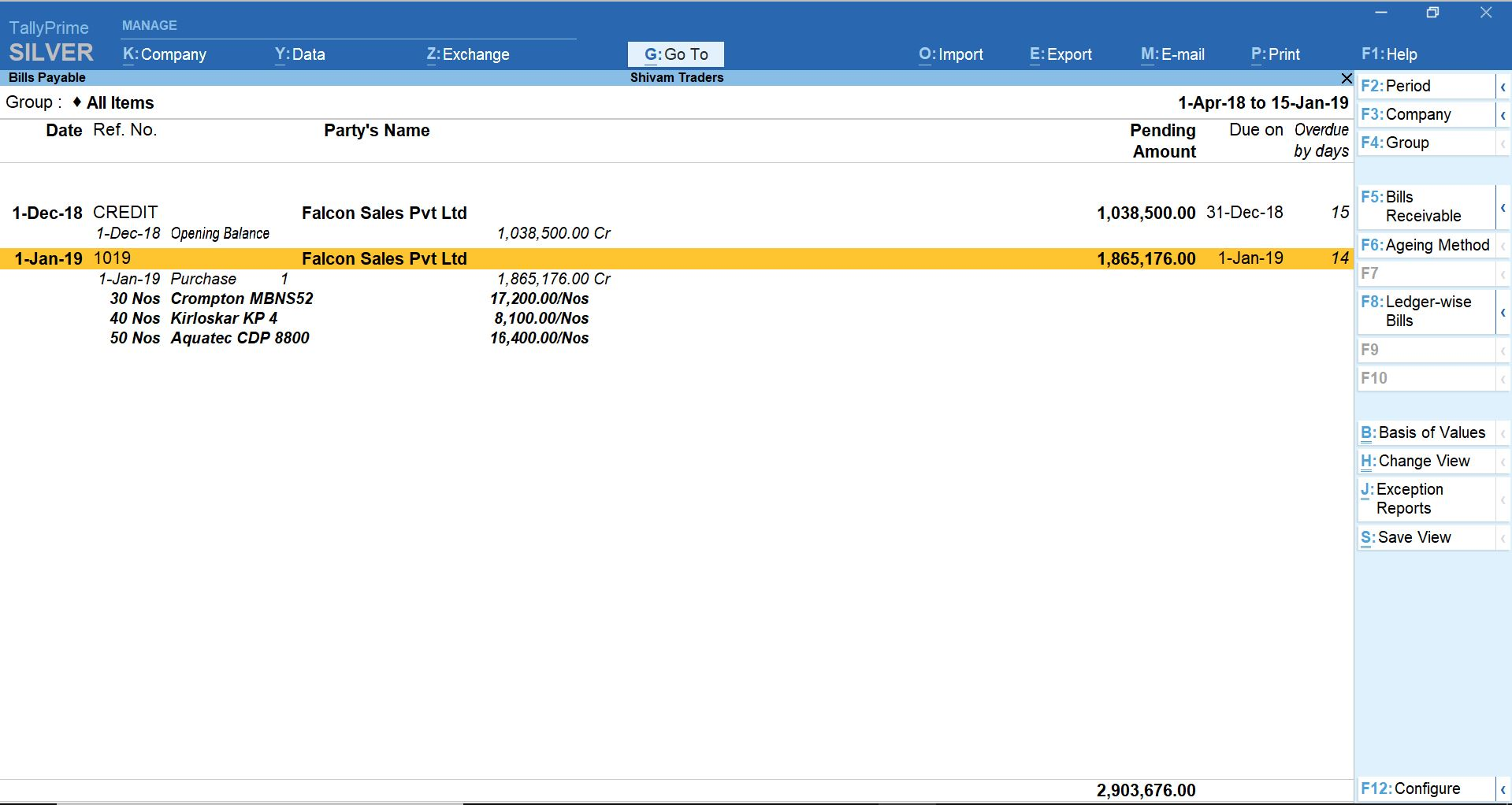 Accounts payables in TallyPrime