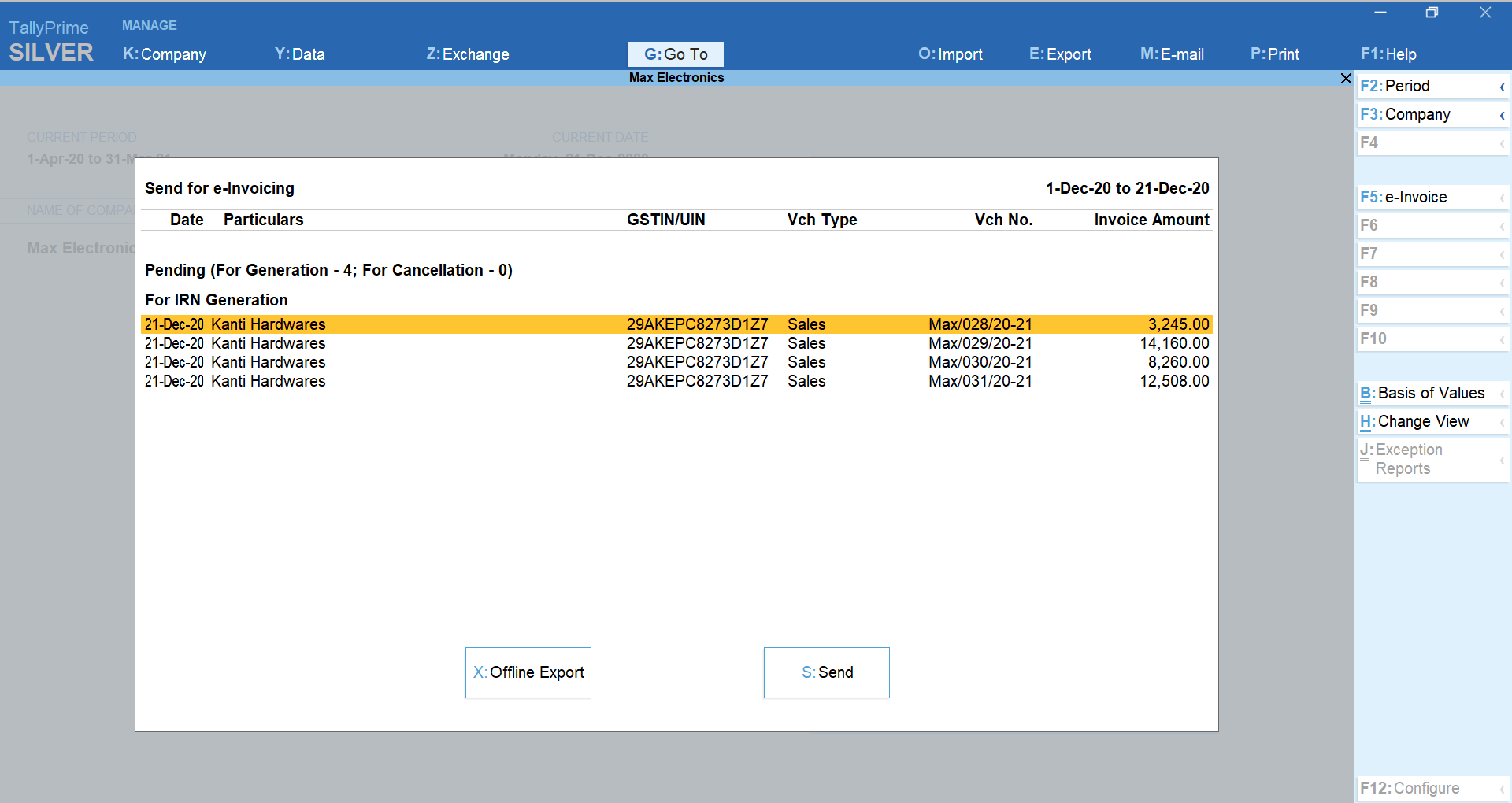 Bulk Generation of e-Invoices in TallyPrime