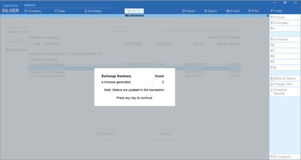 bulk generation of e-invoices