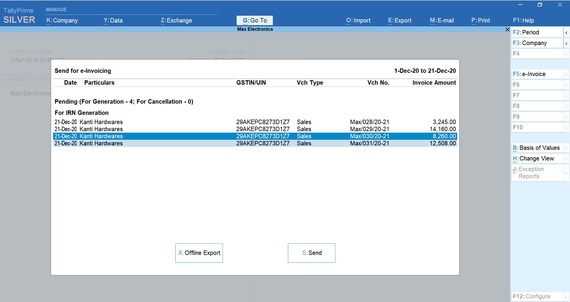 Generating bulk e-invoice in TallyPrime