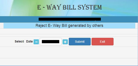 reject e way bill