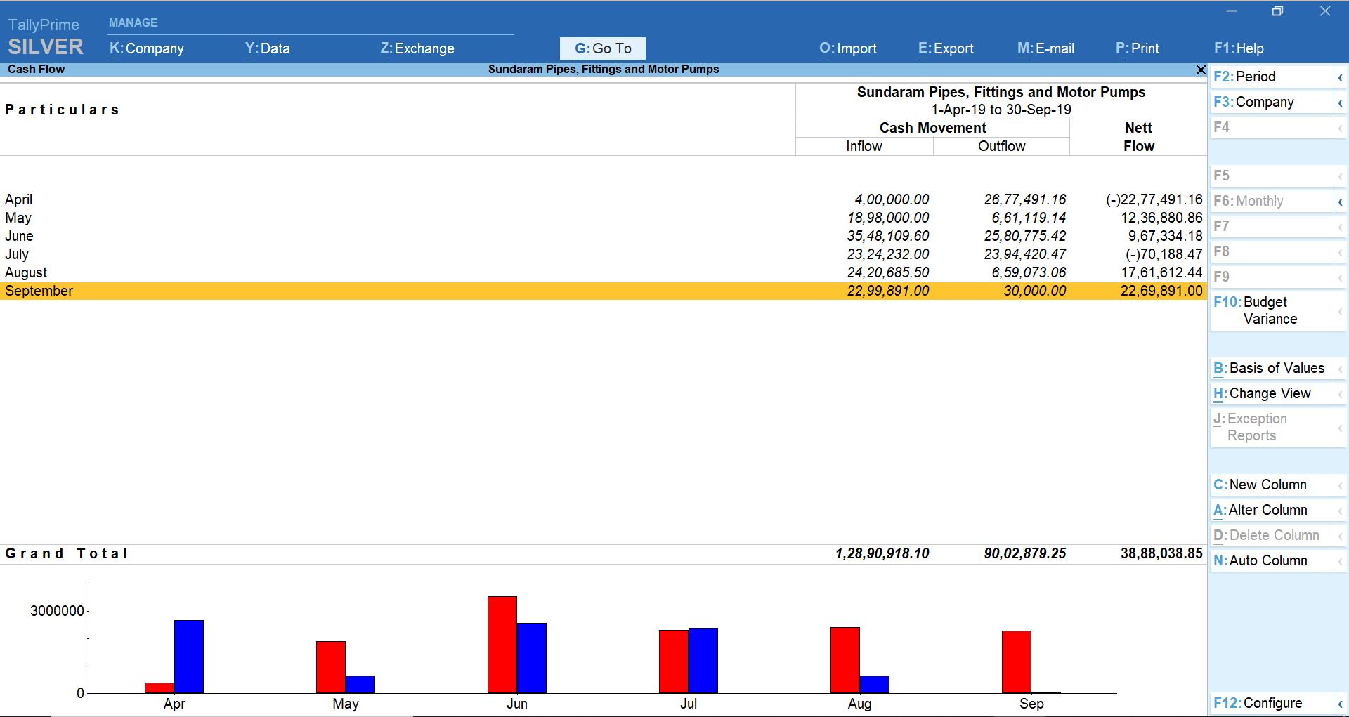 Cash flow analysis report