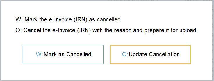 how to cancel e-invoice in TallyPrime
