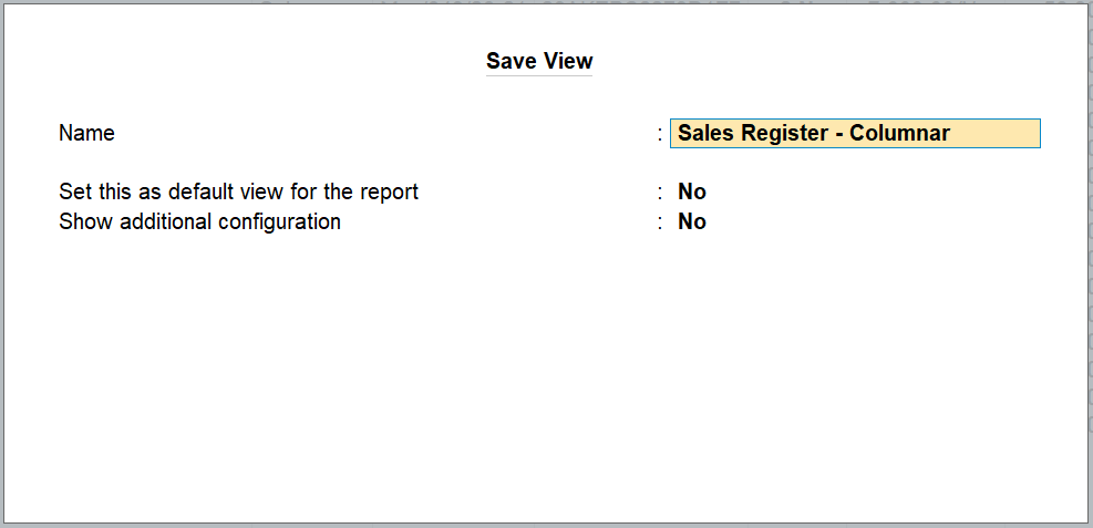 reports personalise in Tallyprime