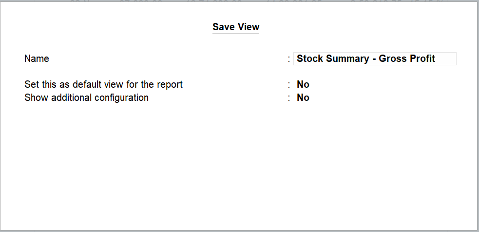 save view in TallyPrime