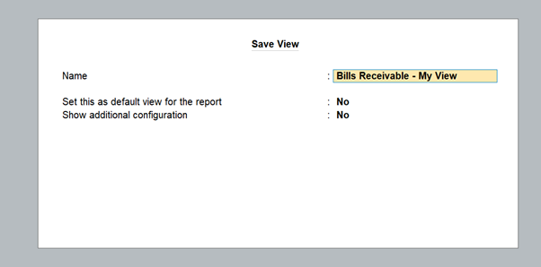 Personalised view of business report in TallyPrime
