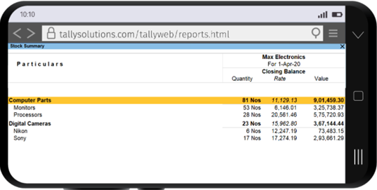 Business reports in TallyPrime