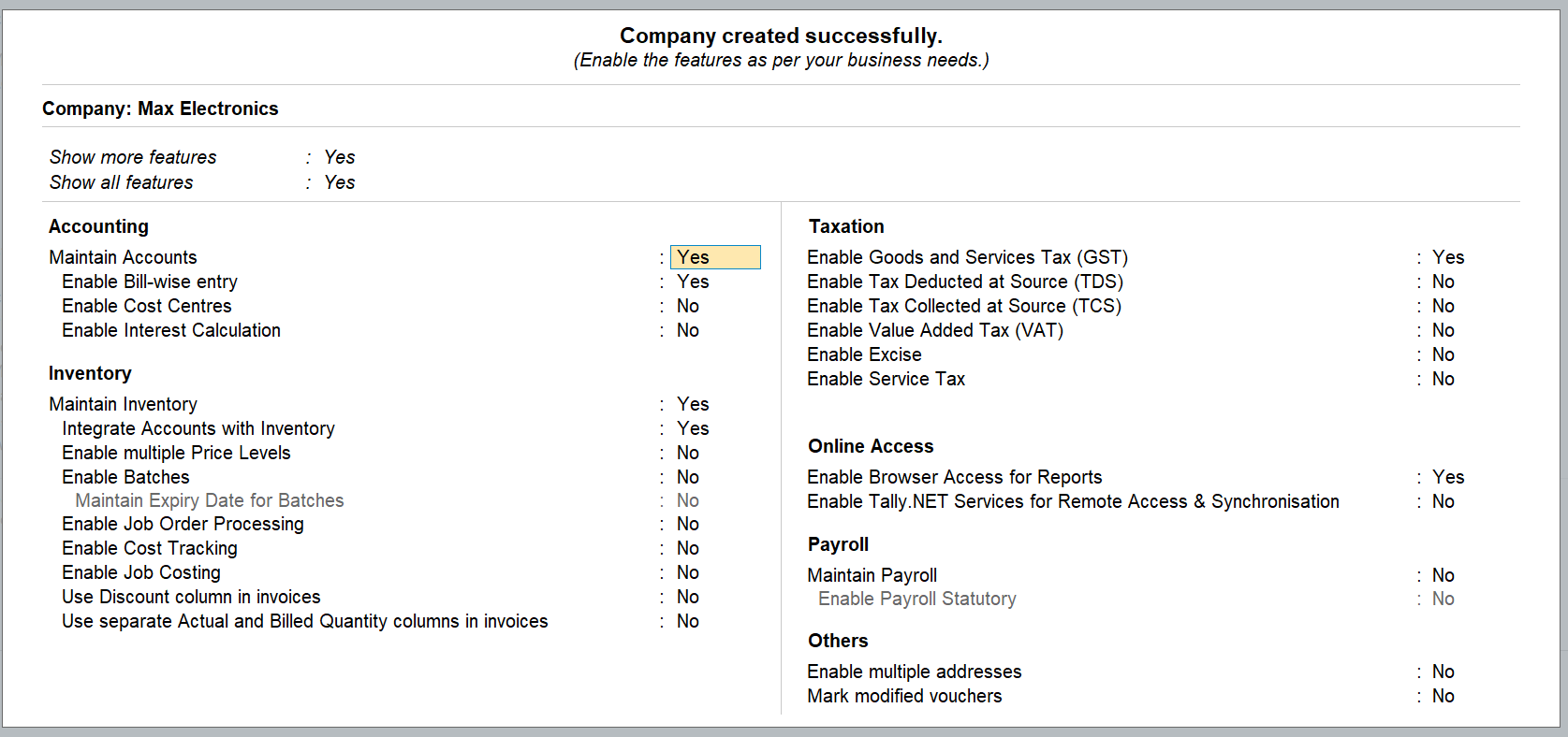 company created successfully in TallyPrime