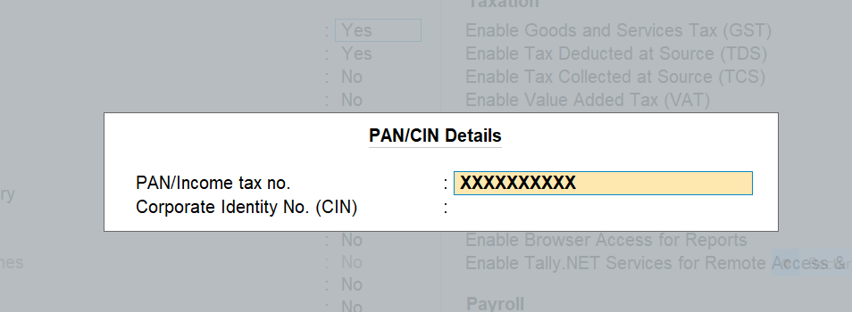 Configure company pan in TallyPrime