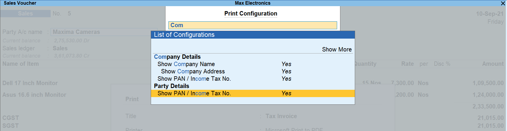 Printing PAN on invoices