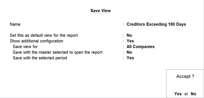 Save view report format for creditors exceeding 180 days