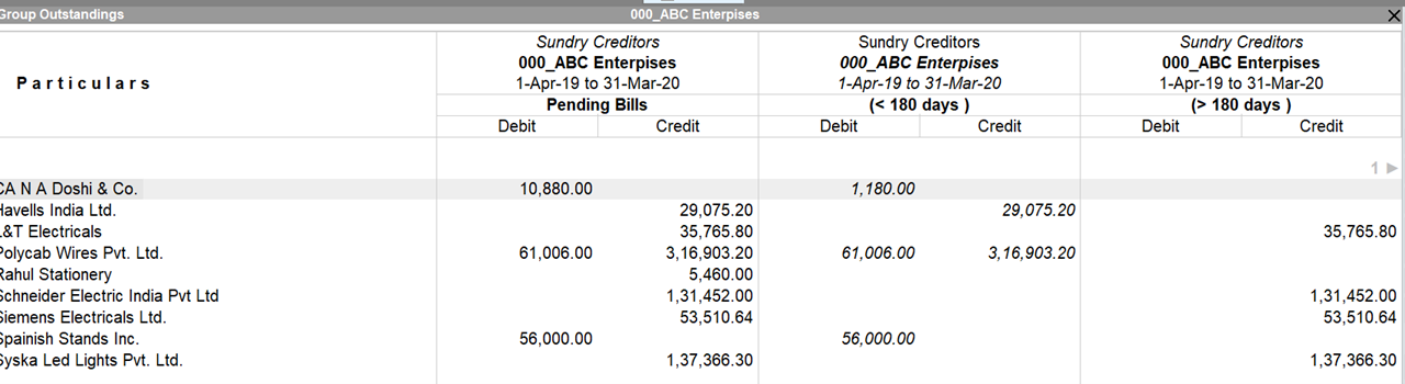Sundry creditors ledgers report